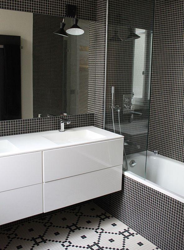 black square mosaic tile salle de bain Pinterest Mosaics
