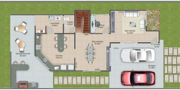 Plano planta baja casa de dos pisos y tres dormitorios - Planos de casas de planta baja ...