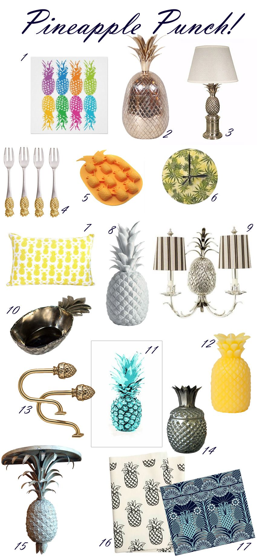 Pineapple decor round up pineapple tropical Day Pinterest