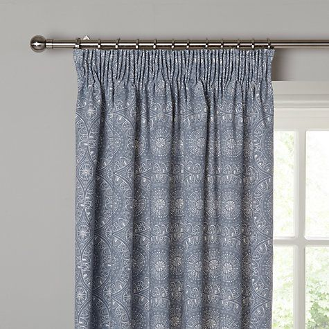 Buy John Lewis Persia Lined Pencil Pleat Curtains Indian Blue Online At Johnlewis