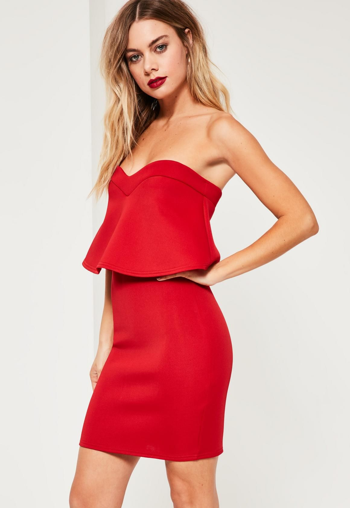 51a658f0264b Missguided - Robe courte rouge bustier à volants