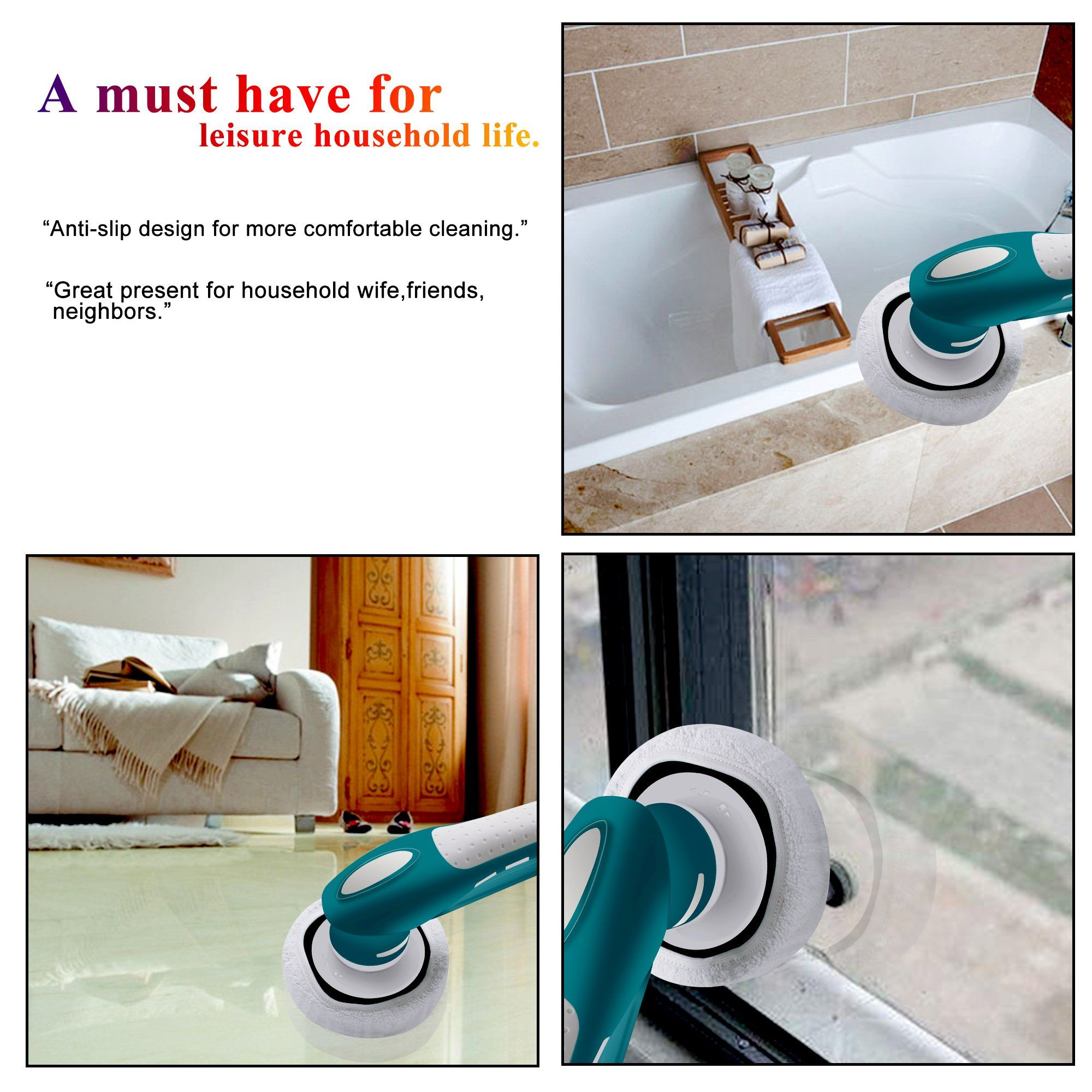 Household Electric Power Scrubbercordless Tub Shower Tile Grout Scrub Brush For Bathroom Floor Wall Kitchenall Purpose Shower Tile Shower Tub Bathroom Flooring