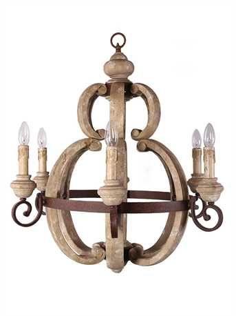 Wood metal chandelier size 26 12 round x 30 12h 60 watt wood metal chandelier size 26 12 round x 30 aloadofball Choice Image