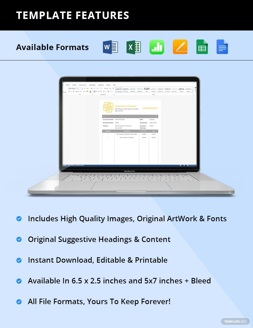 It Sales Receipt Template Word Excel Google Doc Apple Mac Pages Google Sheets Apple Mac Number In 2020 Receipt Template Google Spreadsheet Docs Templates