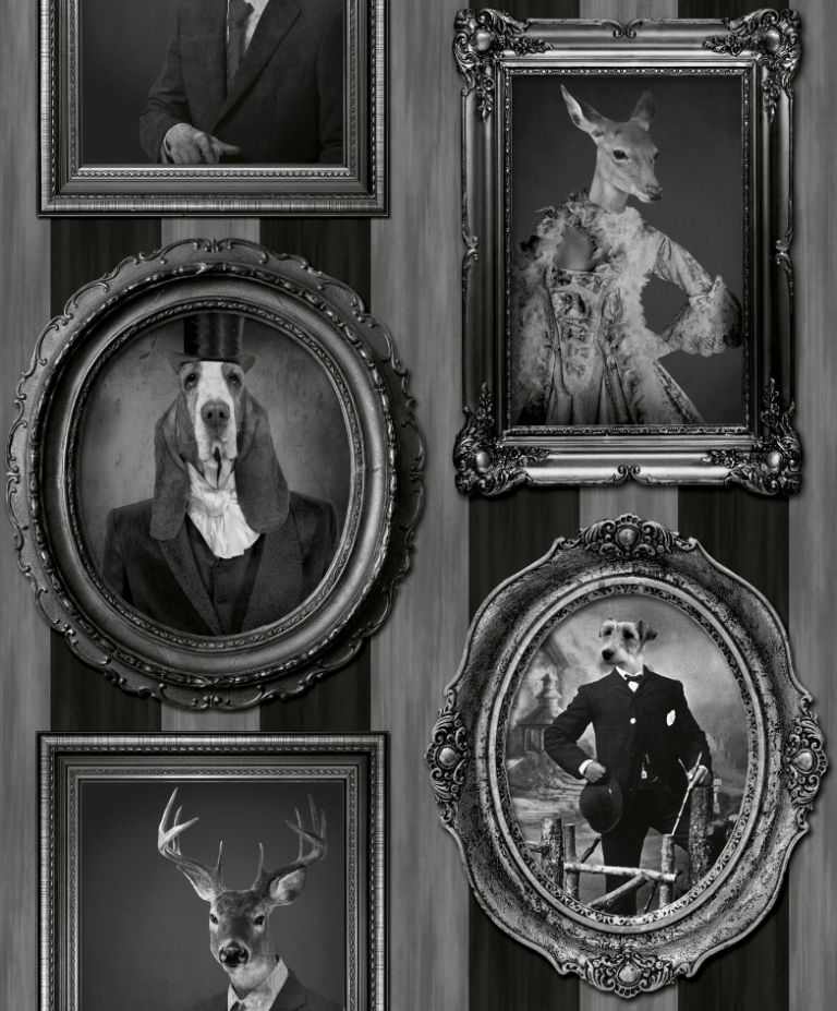Charcoal Dogs in Frames Grey Mono Black White Stripe Vintage Wallpaper J59309