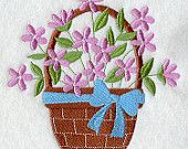 BASKET OF LILAC Colored Flowers Simple and Pretty Machine Embroidered Quilt Block, Panel