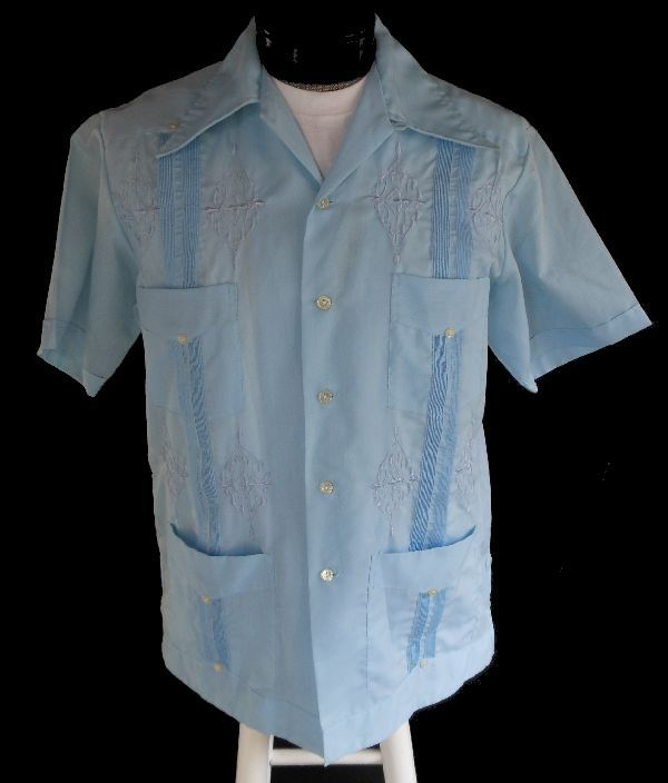 05ac9f1d Vintage 60s Mens Guayabera Shirt - 1960s Pintucked Mexican Wedding Shirt -  Blue Cotton - Loop Collar - Size XL Extra Large