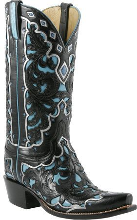 #Lucchese Classics - Style L4680, Women's: Goat Underlay #Boot with Black Seminole/Emerald Blue Hand-Tooling