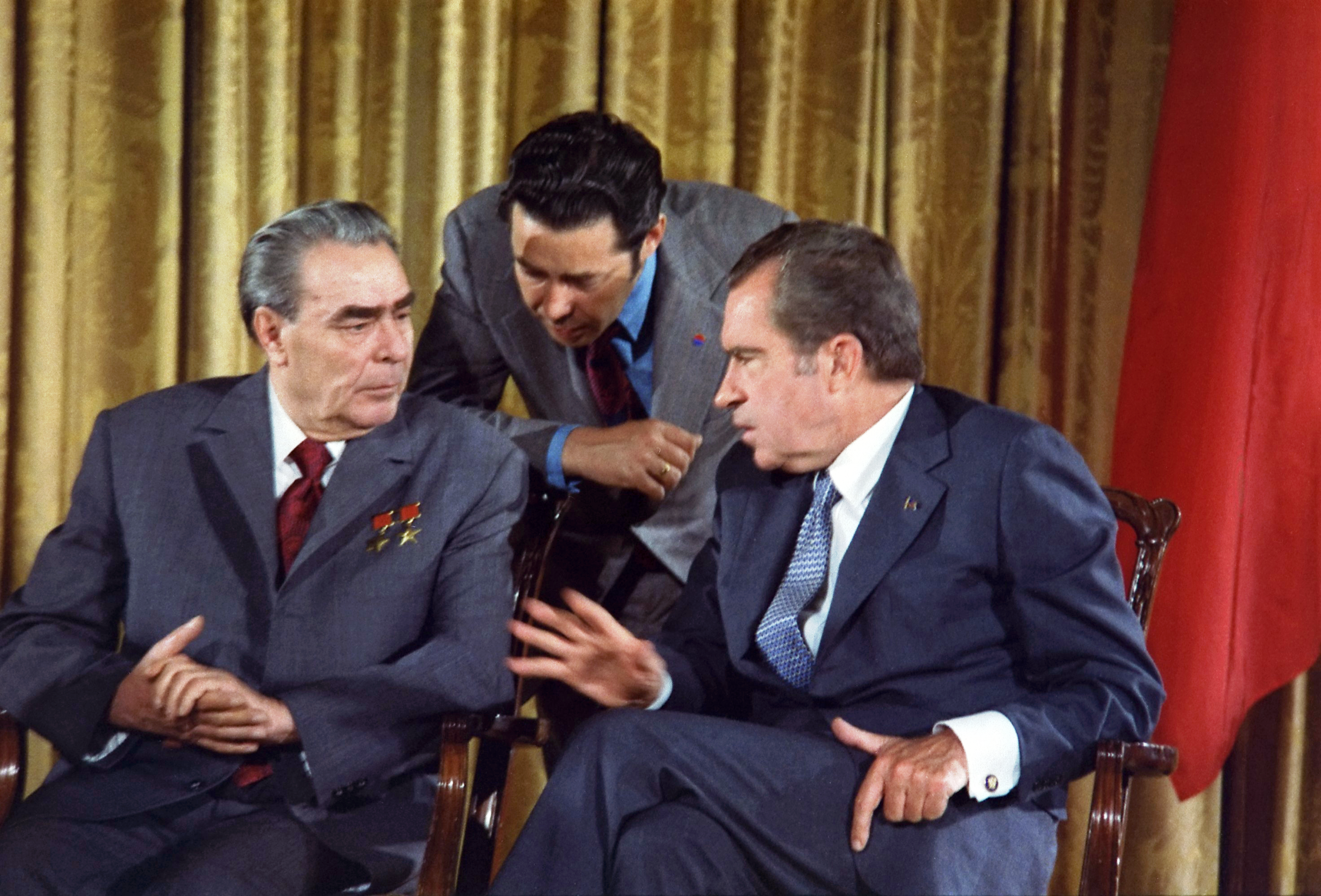on u s president nixon became the first u s on 22 1972 u s president nixon became the first u s president to russia he met soviet leader leonid brezhnev what s the leader