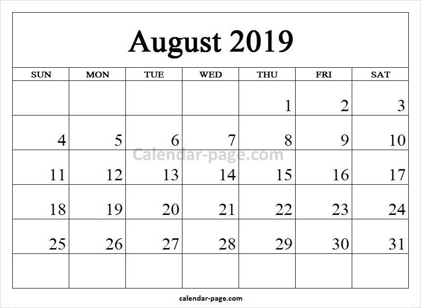 Printable 2019 Calendar August Blank Template Blank Calendar