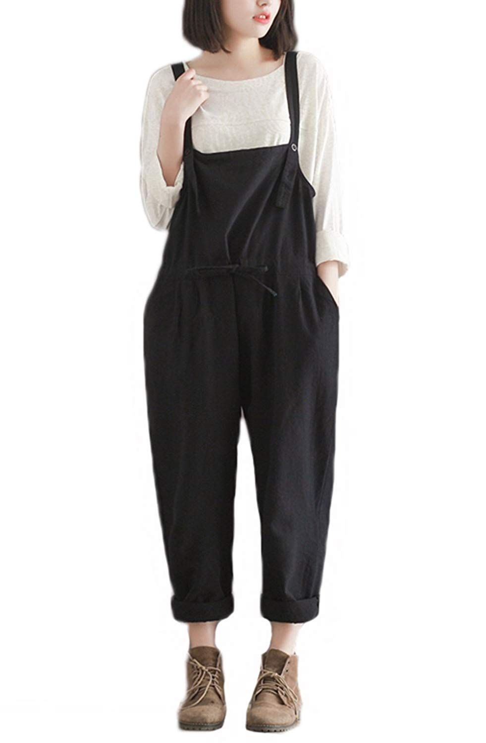 48906125a7 YAELUCKY Christmas Womens Casual Loose Cotton Linen Bib Overalls Pattern  Sleeveless Jumpsuit Pants Plus Size Romper     For more information