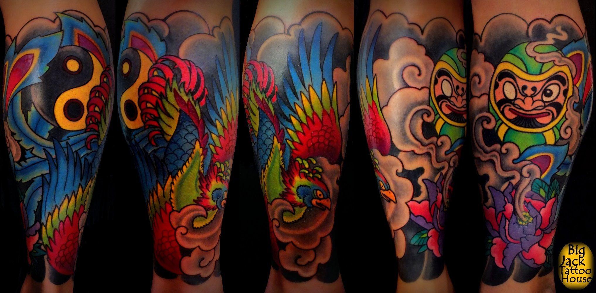 Fenice e Daruma Tattoo Giapponese su polpaccio