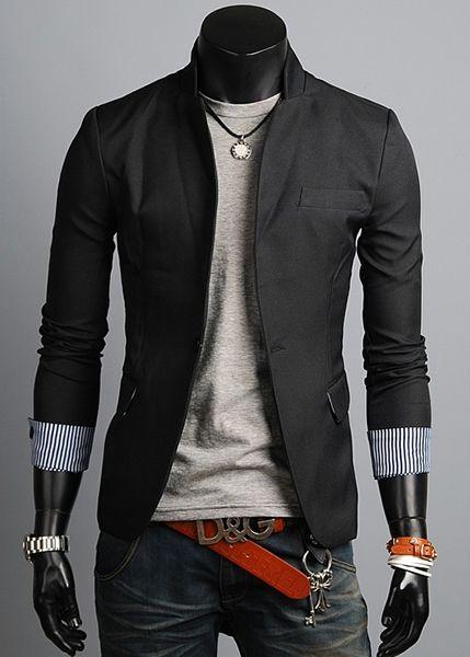Black- XL ;-)  Winter Fashion Men Long Sleeve One Button Black Blends Suit M/L/XL/XXL @X12158918b