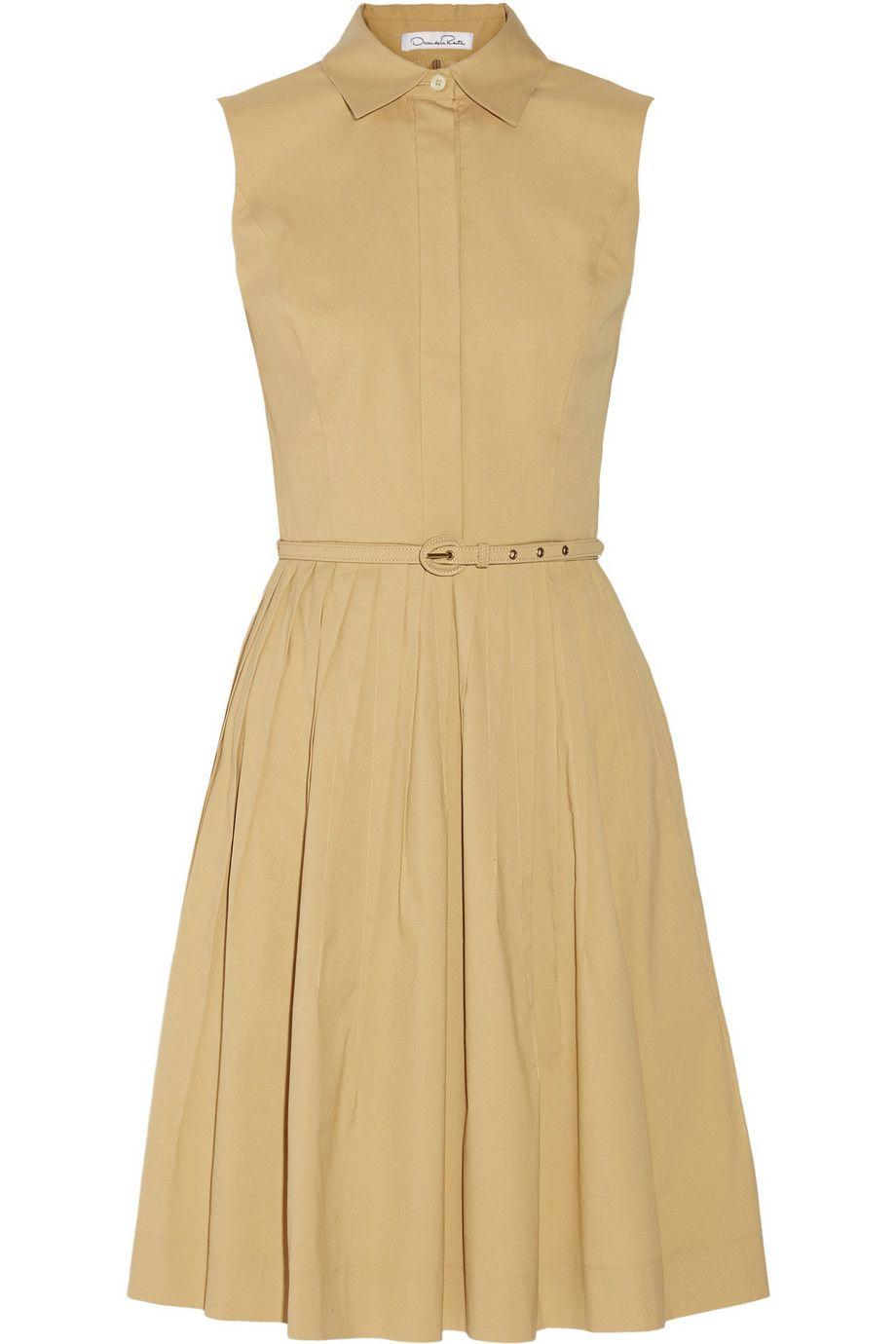 OSCAR DE LA RENTA Pleated cotton-blend dress