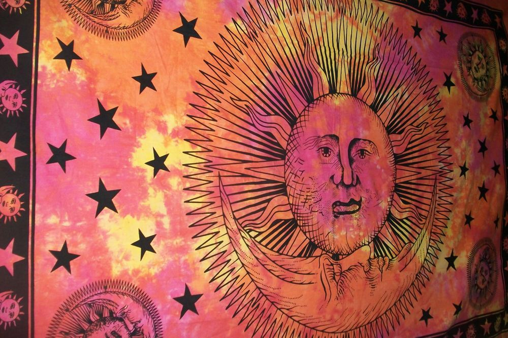 Psychedelic Sun Moon Indian Hippie Tapestry Indian Wall Hanging Tie Dye Tapestry #Unbranded