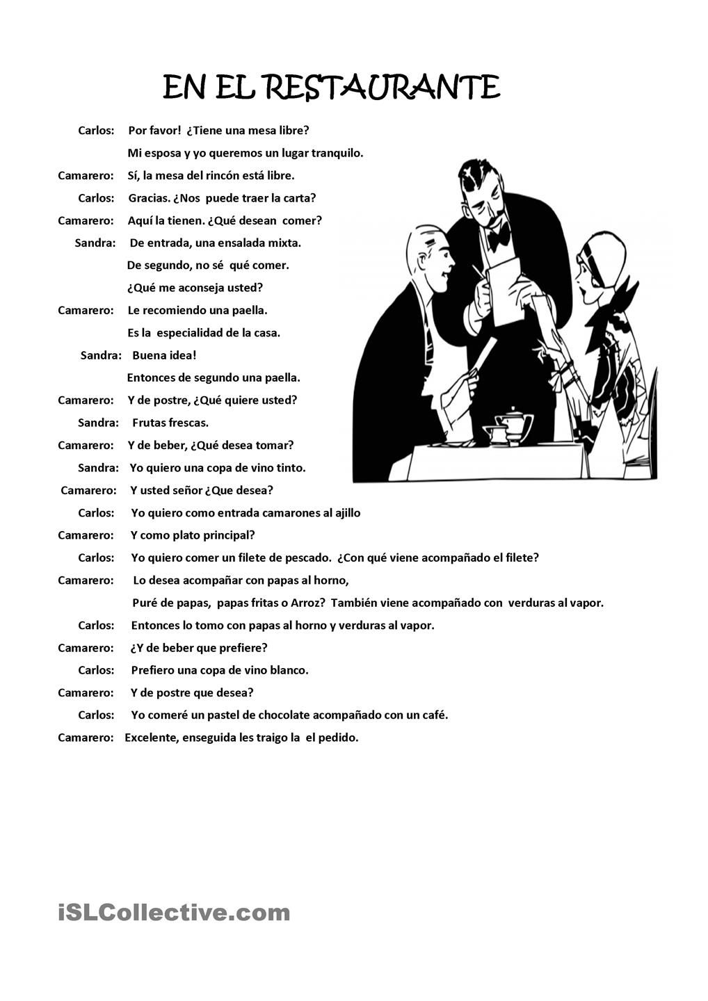 Worksheets Spanish Food Worksheet dialogue between customers and waiter in a restaurant comida y restaurant