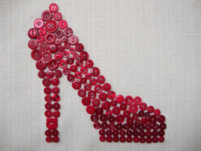 Original Button Art - The Fuchsia Shoe. £45.00, via Etsy.