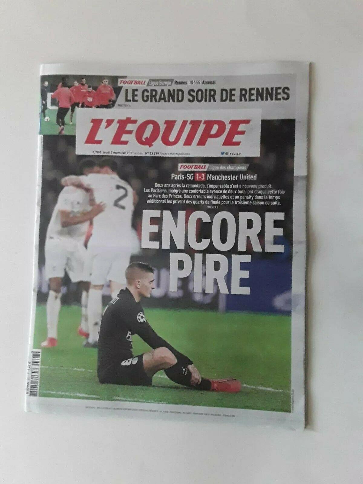 PSG v Manchester United Man Utd L'Equipe Newspaper day