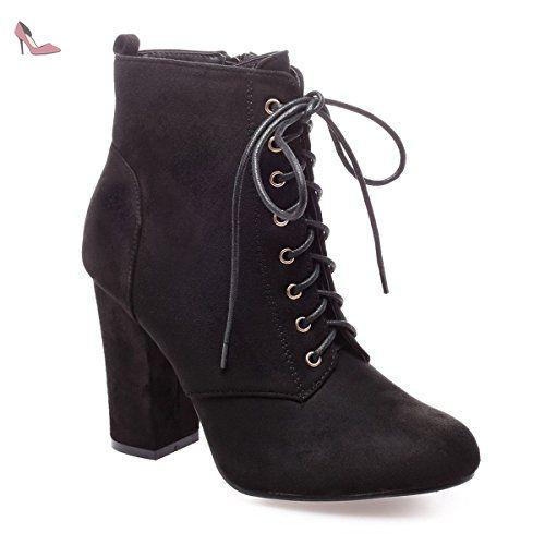 48a98efff7ef0 La Modeuse - Bottines en simili daim à talon carré  Amazon.fr  Chaussures  et Sacs