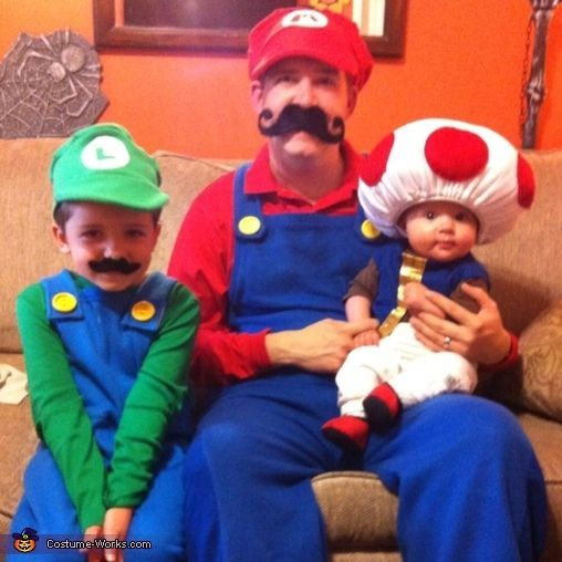 mario luigi and toad family costume brother halloween costumesfamily costumesbaby - Baby And Family Halloween Costumes