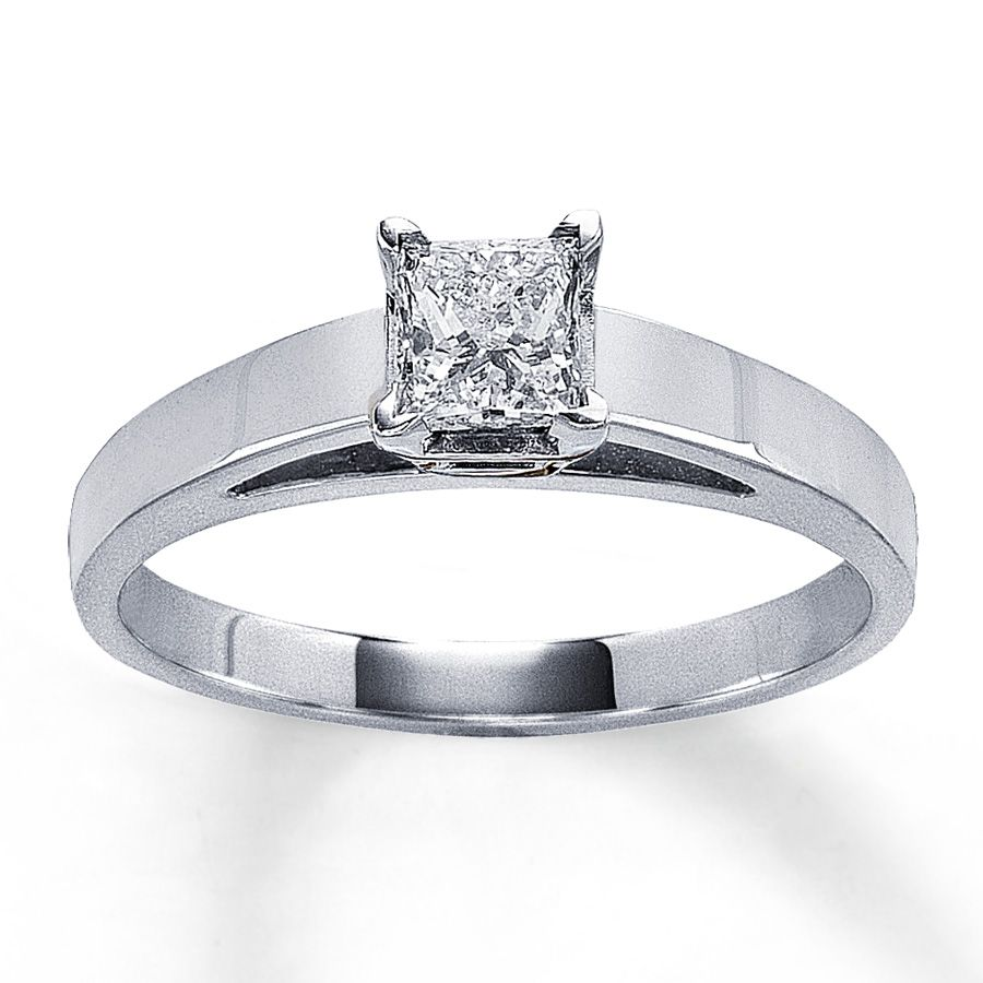 Diamond Solitaire 12 carat princes cut 14k white gold Rings