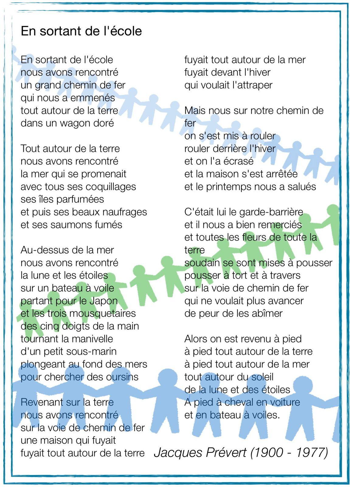 En Sortant De L'école Prévert : sortant, l'école, prévert, Sortant, L'école., Texte, Prévert, Musique, Kosma, Changé, Montand., Ecole,, Cour,, Regle
