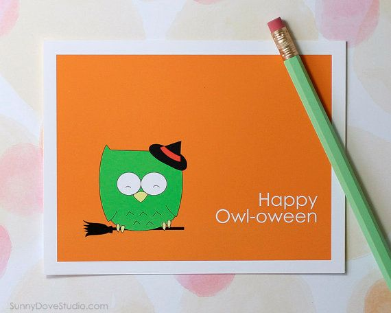 Cute Owl Pun Happy Halloween Card By SunnyDoveStudio #cute #kawaii #owl # Witch