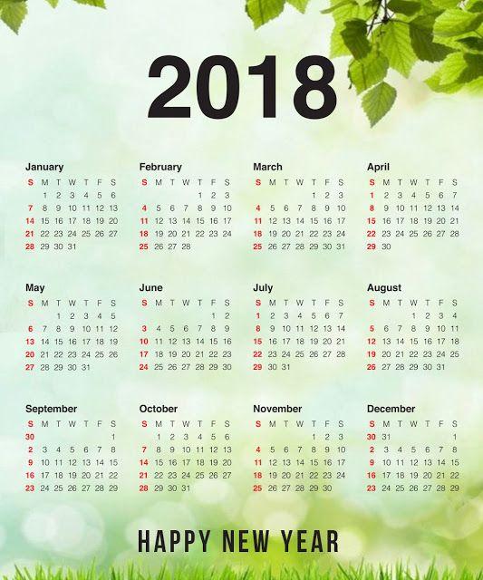 2018 yearly happy new year calendar