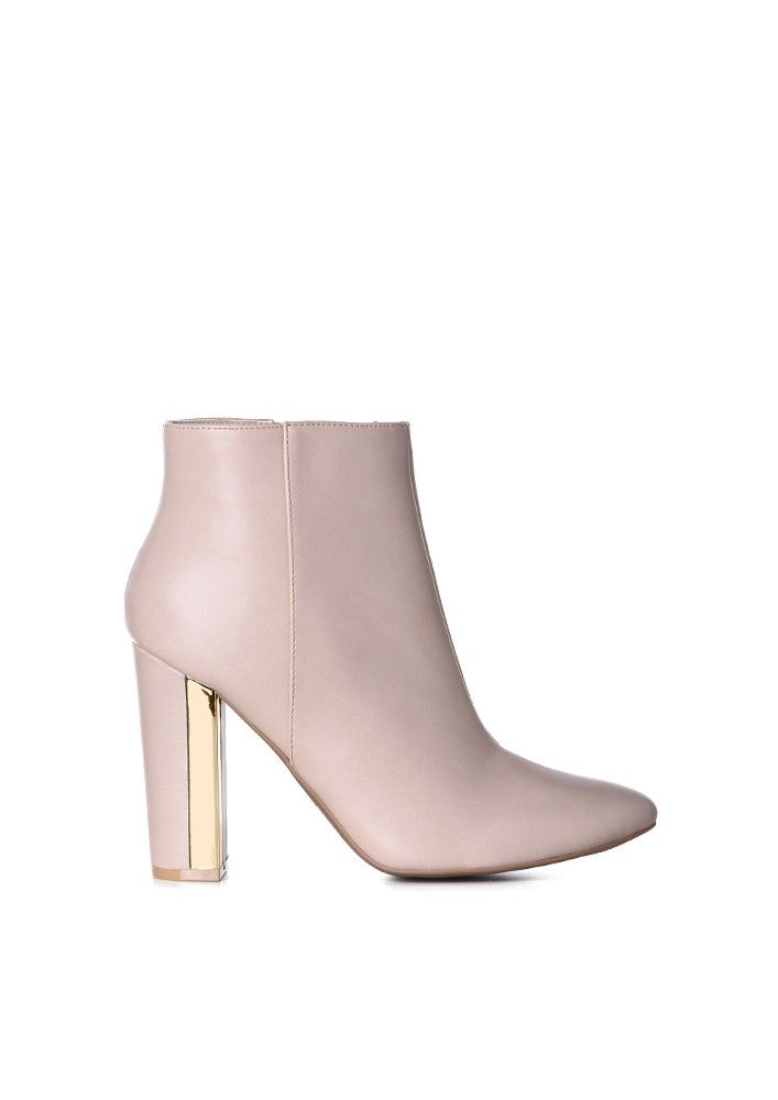 Mirror Me Heeled Booties in Nude | Necessary Clothing
