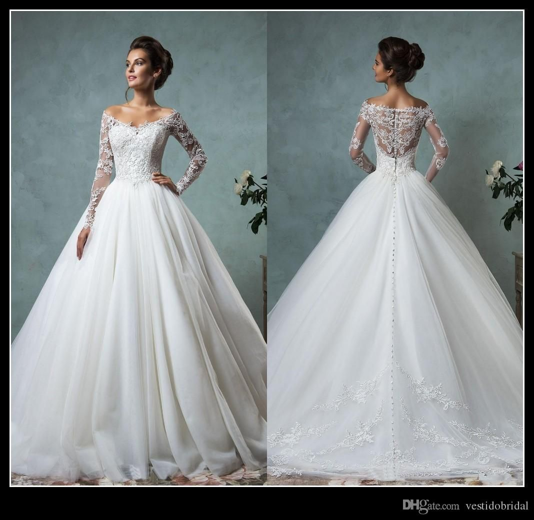Lace Tulle Wedding Dresses Vintage Spring Fall Off Shoulder Long Sleeve Bridal Gowns Arabic