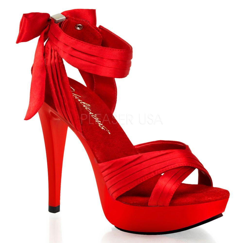 Red Satin Platform Heels Salsa Dance Drag Queen Crossdresser Shoes