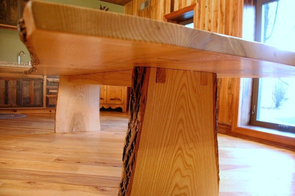 Attractive Live Edge Table In Ash With Mortised Slab Legs