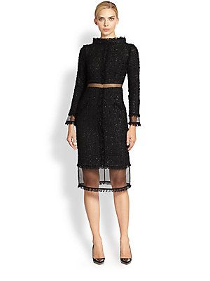 Ready for London Fashion Week?  London Designer - Erdem Leslie Fitted Tweed Dress