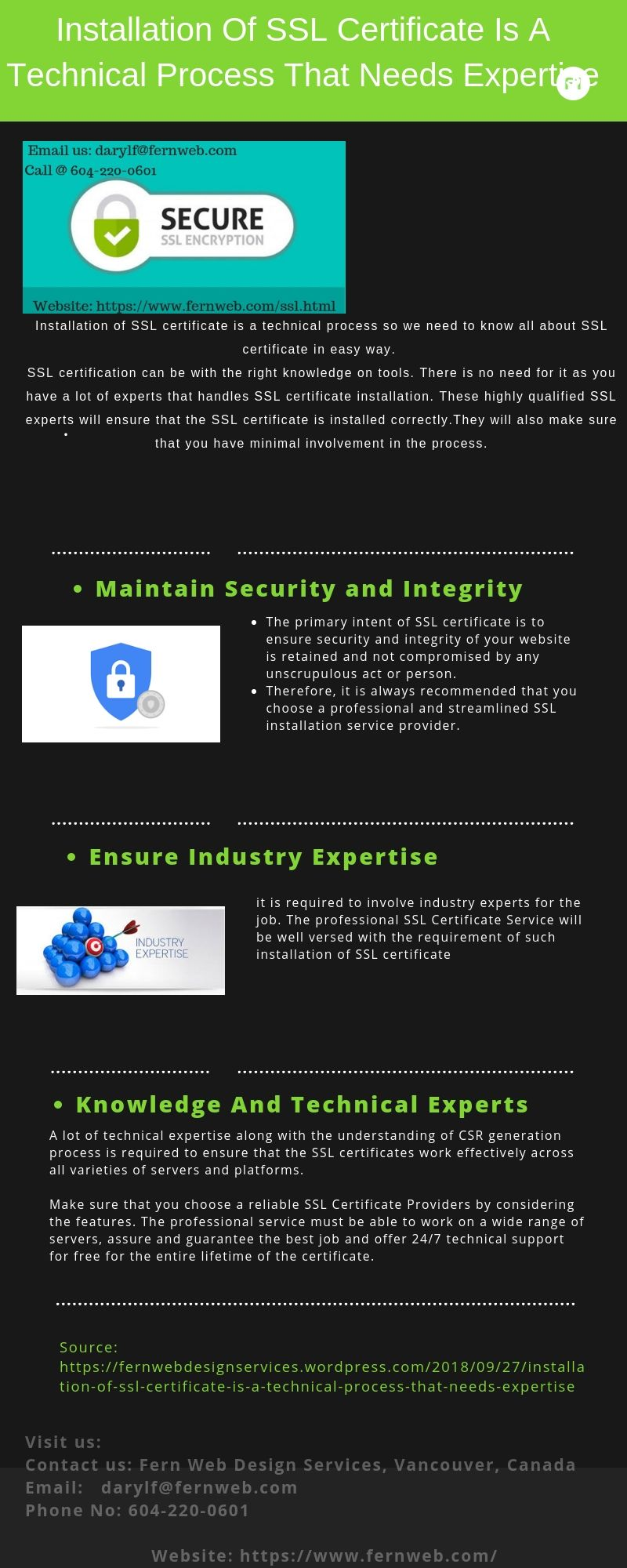 Installation Of Ssl Certificate Is A Technical Process That Needs