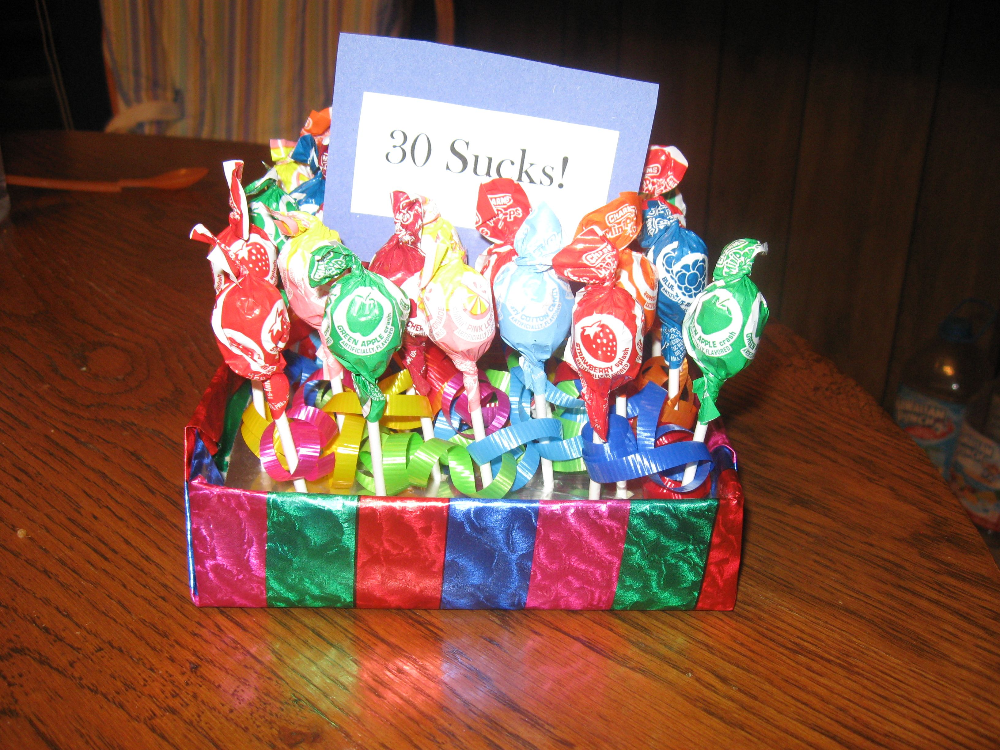 30th birthday idea - 30 sucks gift I created for a coworker.