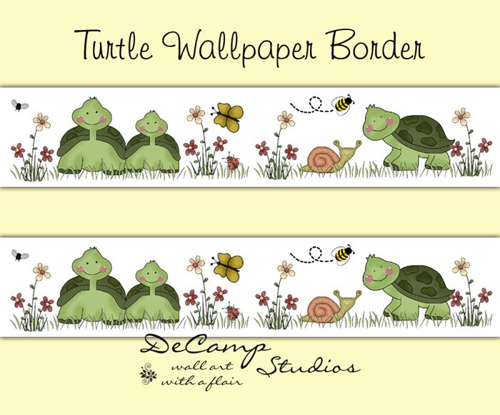 Turtle Wallpaper Border Wall Decals for baby boy or girl nursery or ...
