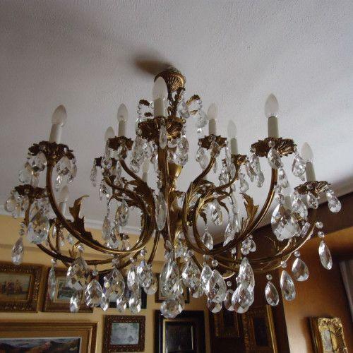 L mpara de bronce y cristal arteycosas l mparas - Lamparas cristal antiguas ...