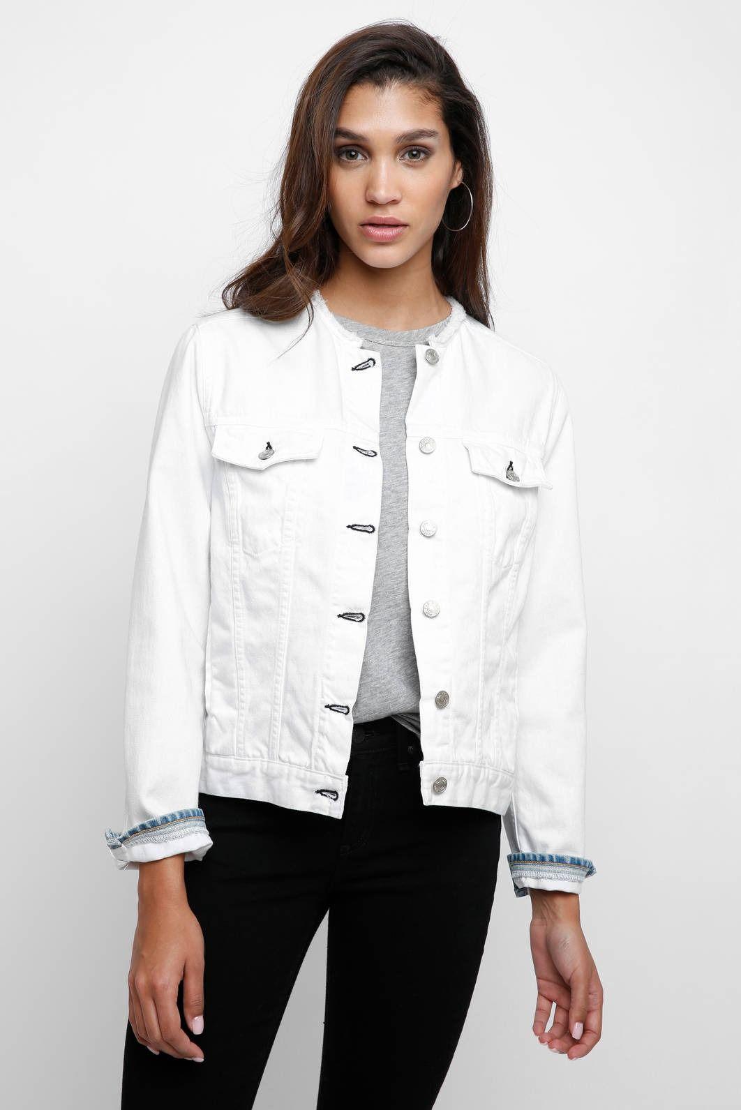 Rag Bone Collarless White Denim Jacket South Moon Under White Denim Jacket Outfit White Denim Jacket White Denim