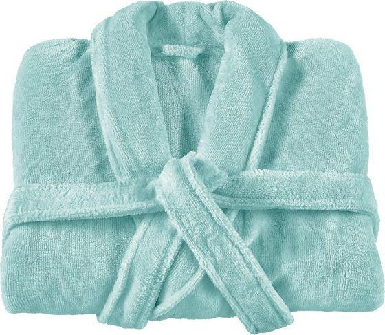 Bademantel aus 50% Baumwolle und 50% Polyester in der Farbe Aqua. In verschiedenen Größen erhätllich.