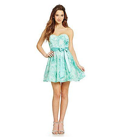 B Darlin Strapless Soutache Dress #Dillards