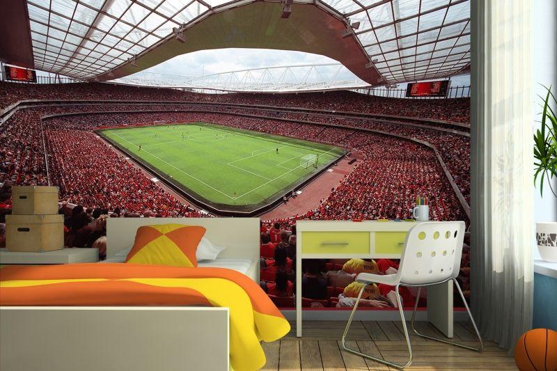 Interior Design, Arsenal Emirates Stadium Wallpaper Murals For Boys Bedroom  With Study Desk: Beautify The Interior Wall House With Wallpaper Murals