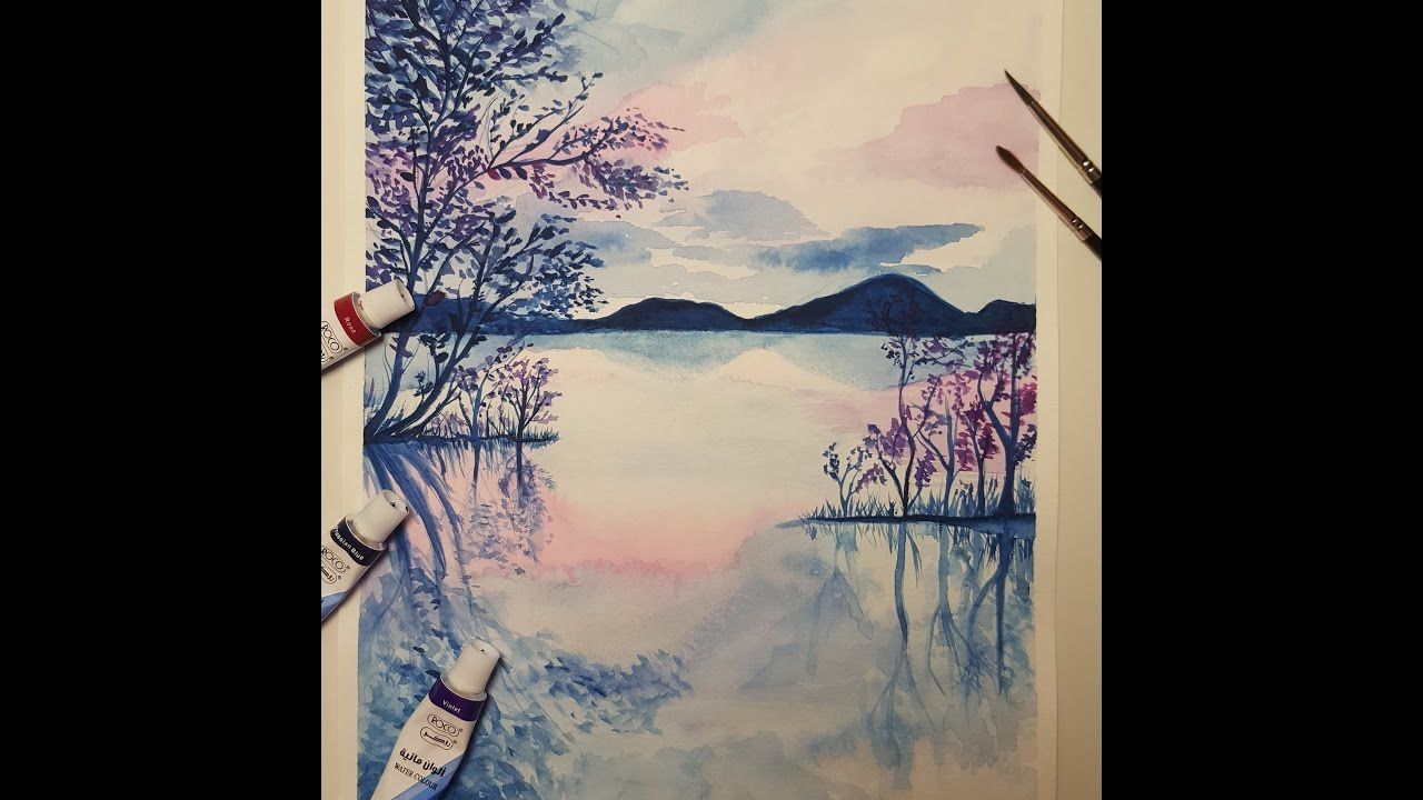 Watercolor Nature Scene Nature Trees Reflection Sea Water Scene