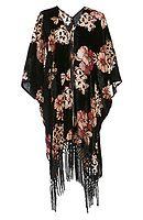 Glamorous Floral Velvet Devore Kimono in Black / Beige XS | DAILYLOOK