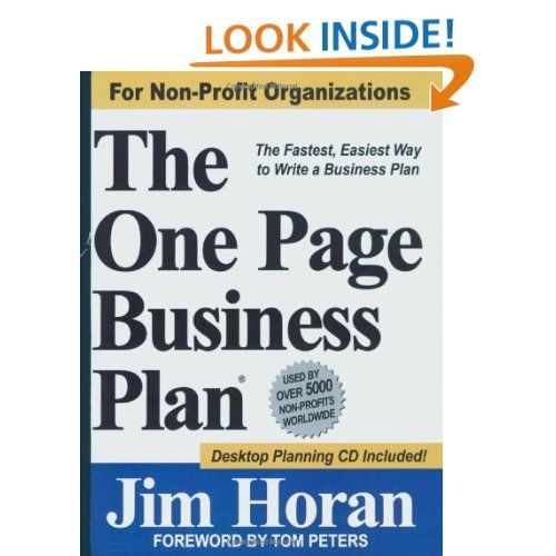 The One Page Business Plan For NonProfit Organizations The - Non profit organization business plan template