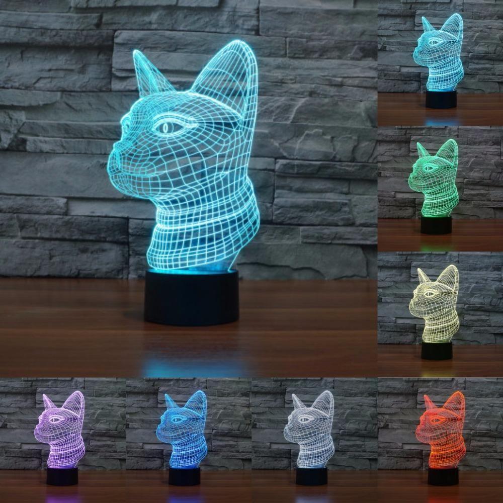 Cat 3d Illusion Led Lamp Anime Merchandise 3d Illusions Kids Lamps