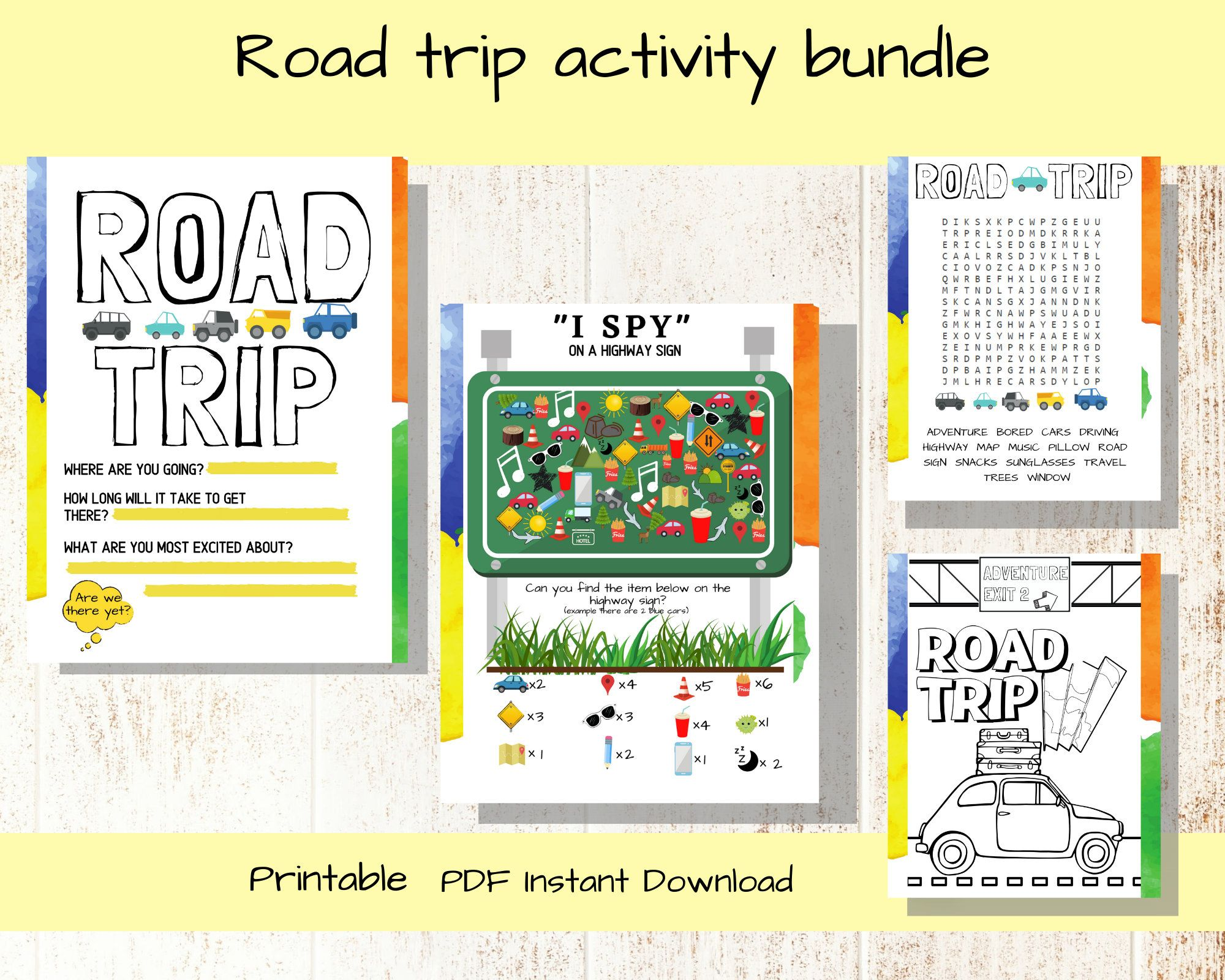 Road Trip Printable Activity Pack For Kids Scavenger