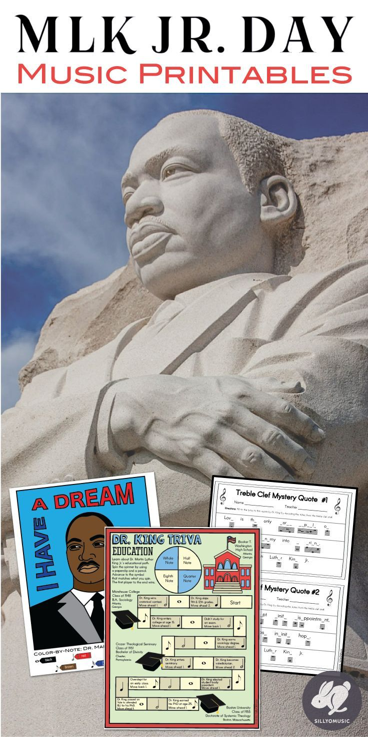 Martin Luther King Day Music Coloring, Games, and MLK Worksheet ...