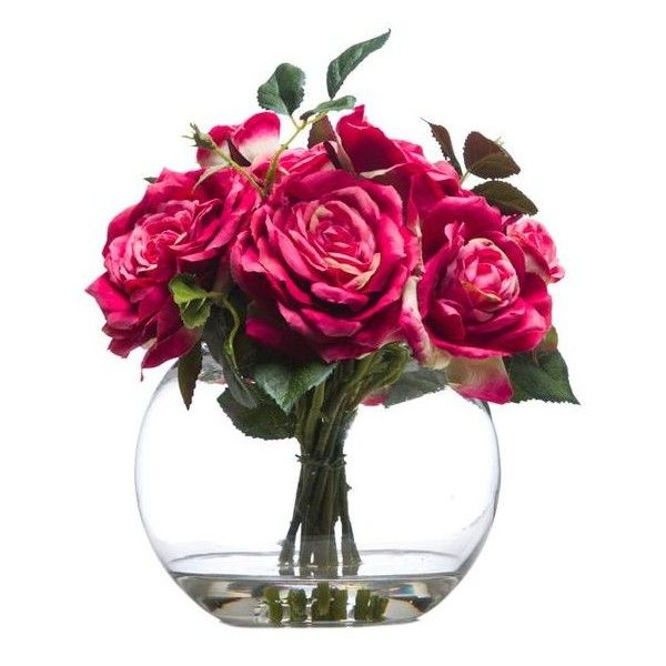 Pink Rose Faux Flower Arrangement Liked On Polyvore Featuring Home Home Decor Floral Decor Fish Bowl Pink Fak Rose Floral Arrangements Flower Arrangements