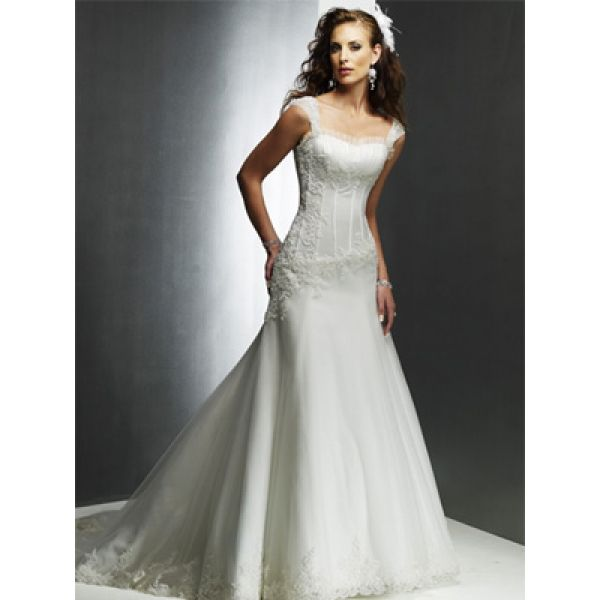 Dropped waist tank sleeves scoop neck satin embroidered a for A line dropped waist wedding dress