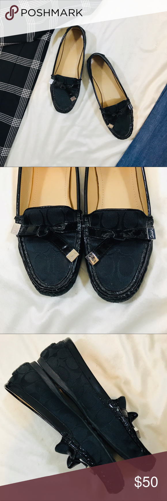 58aabfe18915de Coach Frida Black Loafer Coach Size 8 Black c pattern loader with patent  leather accents Classic